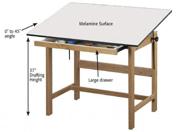 Alvin Wtb42 Titan Natural Finish Oak Drafting Table
