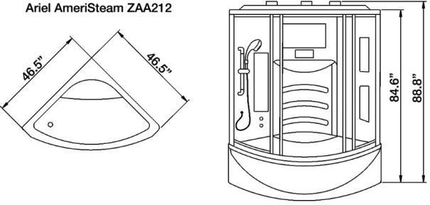 ariel ameristeam zaa212 steam shower  etl listed  us