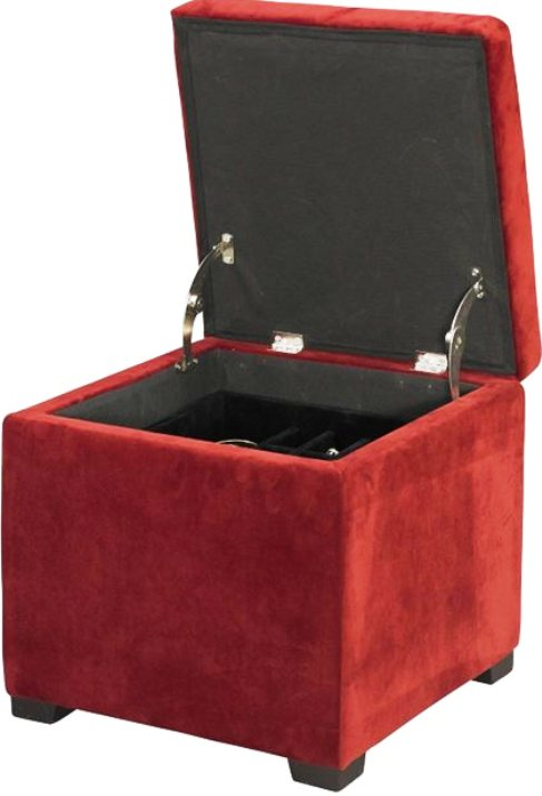 Linon 40520RED-01-AS Judith Ottoman with Jewelry Storage